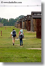 auschwitz, backpackers, berkenau, buildings, europe, poland, prison, prison camp, structures, vertical, photograph