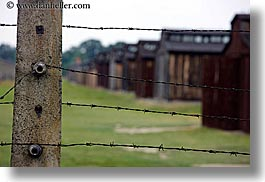 auschwitz, barbed, barbed wire, barracks, berkenau, buildings, europe, fences, horizontal, poland, prison, prison camp, structures, wires, photograph