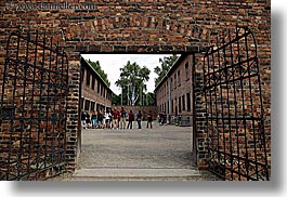auschwitz, bricks, buildings, entrance, europe, execution, horizontal, materials, poland, prison, prison camp, structures, walls, photograph