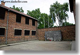 auschwitz, bricks, buildings, europe, execution, horizontal, materials, poland, prison, prison camp, structures, walls, photograph