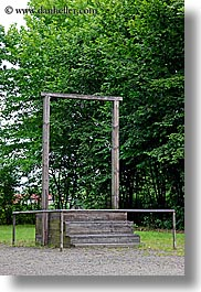 auschwitz, buildings, europe, for, gallows, hess, poland, prison, prison camp, structures, vertical, photograph