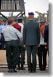 auschwitz, ceremony, europe, israeli, jewish, military, officer, poland, religious, vertical, photograph