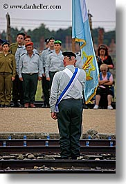 auschwitz, ceremony, europe, flags, israeli, jewish, military, officer, poland, religious, vertical, photograph