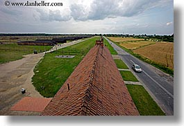 auschwitz, buildings, europe, from, guards, horizontal, poland, prison, prison camp, structures, towers, views, photograph