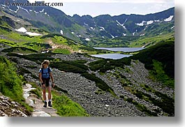 activities, europe, hikers, hiking, horizontal, lakes, nature, paths, people, poland, womens, photograph