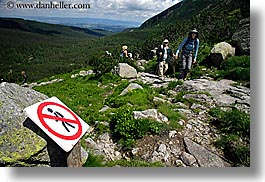 activities, europe, hikers, hiking, horizontal, nature, no hiking, paths, people, poland, signs, photograph