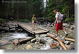 activities, bridge, europe, hikers, hiking, horizontal, men, nature, out, over, paths, people, poland, washed, photograph