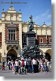 adam mickiewicz, arts, crowds, europe, krakow, people, poland, statues, vertical, photograph