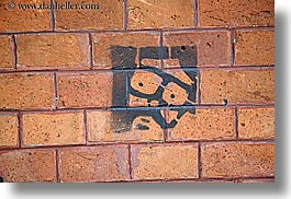 arts, bricks, europe, faces, horizontal, krakow, poland, stencil, photograph