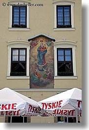 arts, babies, europe, frescoes, jesus, krakow, madonna, mosaics, poland, vertical, windows, photograph