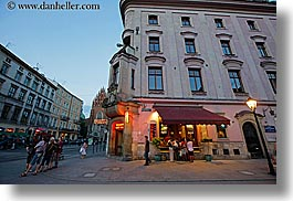 buildings, cafes, dusk, europe, horizontal, krakow, poland, photograph