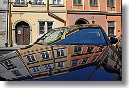 abstracts, arts, buildings, cars, europe, horizontal, krakow, poland, reflections, photograph