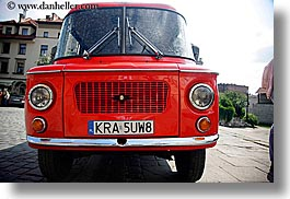 cars, colors, communist, europe, grill, horizontal, krakow, poland, red, transportation, photograph