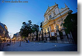 churches, dusk, europe, horizontal, krakow, poland, slow exposure, st peter paul church, photograph