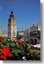 buildings, clock tower, europe, flowers, krakow, poland, structures, towers, vertical, photograph