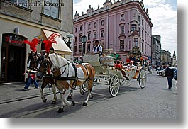 carriage, europe, horizontal, horse carriage, horses, krakow, poland, photograph