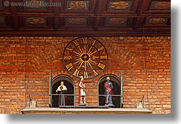 bricks, clocks, europe, gothic, horizontal, jagiellonian university, krakow, materials, poland, puppets, style, photograph