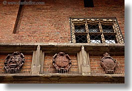 bricks, coat of arms, europe, gothic, horizontal, jagiellonian university, krakow, materials, perspective, poland, stones, style, upview, photograph
