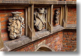 bricks, coat of arms, europe, gothic, horizontal, jagiellonian university, krakow, materials, poland, stones, style, photograph