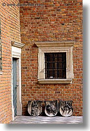 bricks, coat of arms, europe, gothic, jagiellonian university, krakow, materials, poland, stones, style, vertical, photograph