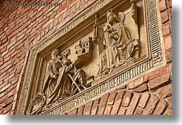 bricks, europe, gothic, horizontal, jagiellonian university, krakow, materials, perspective, poland, relief, sculptures, stones, style, upview, photograph