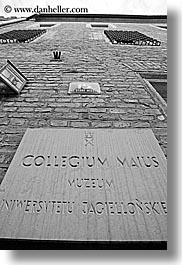black and white, bricks, europe, gothic, jagiellonian university, krakow, materials, poland, signs, style, university, vertical, photograph
