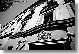 black and white, eden, europe, horizontal, hotels, jewish, jewish quarter, krakow, poland, religious, signs, photograph