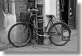 bicycles, black, black and white, europe, horizontal, krakow, poland, transportation, photograph