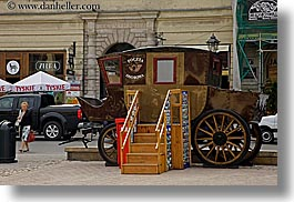 europe, horizontal, krakow, poland, stage coach, stagecoach, stairs, transportation, photograph