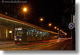 europe, horizontal, krakow, lights, long exposure, nite, poland, streaks, trains, photograph