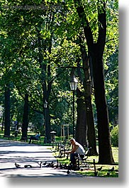 alone, birds, emotions, europe, krakow, men, park, people, poland, solitude, vertical, photograph