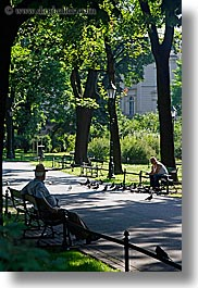 benches, emotions, europe, krakow, men, park, people, poland, solitude, two, vertical, photograph