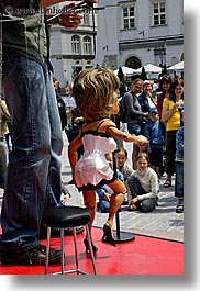 arts, childrens, dolls, europe, krakow, people, poland, puppeteers, puppets, tina, turner, vertical, watching, photograph