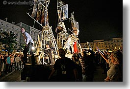 crowds, europe, horizontal, krakow, metalic, nite, people, performance, poland, ships, photograph
