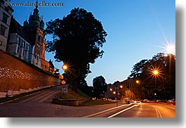 bell towers, buildings, driveway, dusk, europe, horizontal, krakow, light streaks, lights, long exposure, palace, poland, streaks, structures, wawel castle, photograph