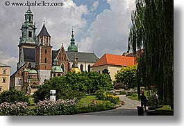 bell towers, buildings, europe, flowers, horizontal, krakow, palace, poland, structures, wawel castle, photograph