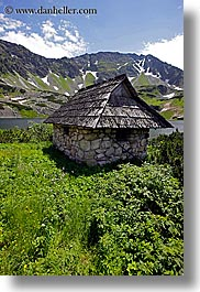 europe, huts, lakes, landscapes, mountains, poland, vertical, photograph