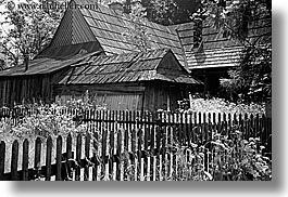 barn, black and white, buildings, europe, fences, horizontal, poland, zakopane, photograph