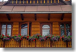 balconies, buildings, europe, flowers, horizontal, poland, woods, zakopane, photograph