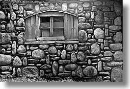 black and white, buildings, europe, horizontal, poland, stones, walls, windows, zakopane, photograph