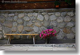 benches, europe, flowers, horizontal, pink, poland, zakopane, photograph
