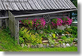 europe, flowers, horizontal, houses, poland, zakopane, photograph