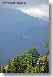 europe, houses, poland, scenics, trees, vertical, zakopane, photograph