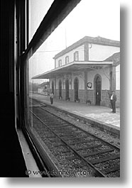 artsie, black and white, europe, portugal, trains, vertical, western europe, windows, photograph
