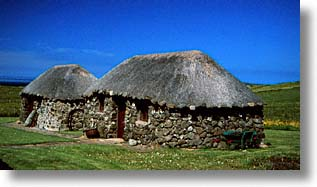 england, europe, horizontal, roofs, scotland, skye, thatched, united kingdom, photograph