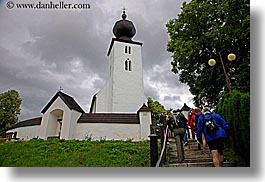 buildings, churches, clouds, europe, farnosti, hikers, horizontal, nature, onion dome, oznamy, people, religious, sky, slovakia, structures, zehra, photograph