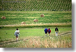 bales, europe, hay, hikers, hiking, horizontal, slovakia, photograph