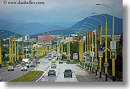 blues, cars, cities, colors, europe, horizontal, lights, mountains, slovakia, streets, transportation, yellow, photograph