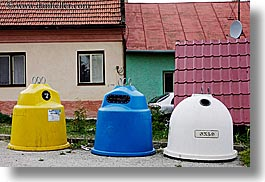 colorful, europe, horizontal, recepticles, recycling, slovakia, photograph
