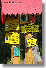 directional, europe, hiking, signs, slovakia, vertical, photograph